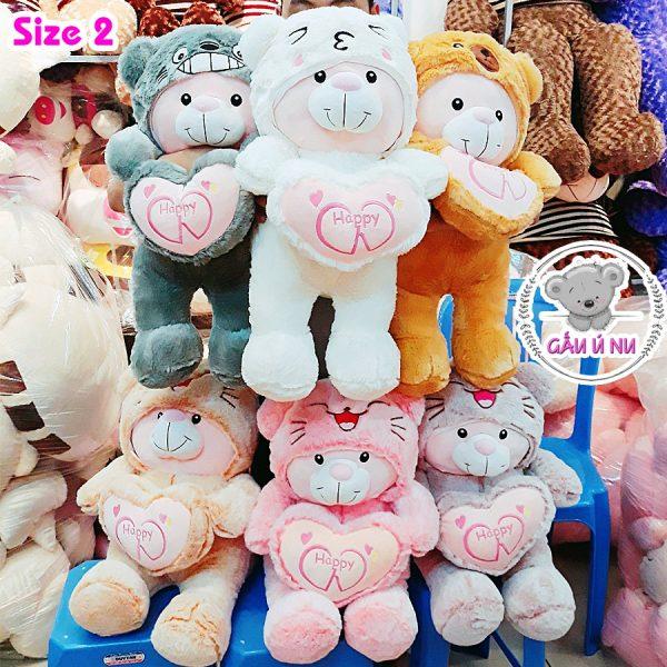 Gia đình Gấu Cosplay size 2 gồm 6 màu: xám, trắng, cam đất, cafe sữa, hồng, tím nhạt